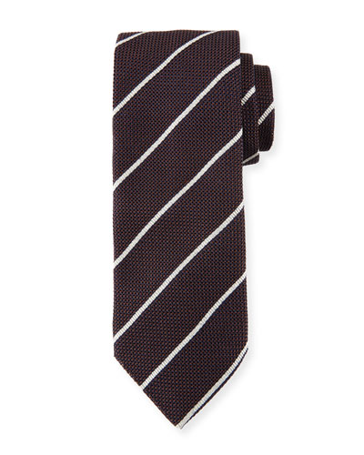 Striped Silk Tie, Brown