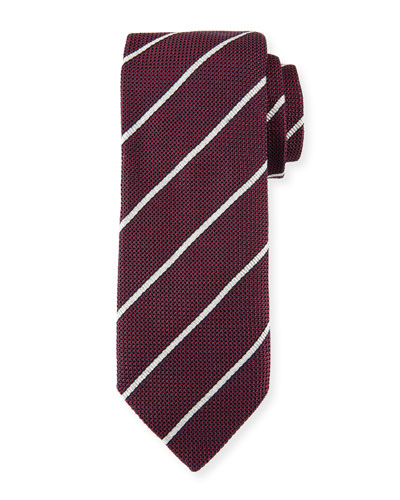 Striped Silk Tie, Claret (Red)