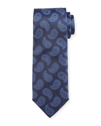Paisley Pines Silk Tie, Gray/Blue