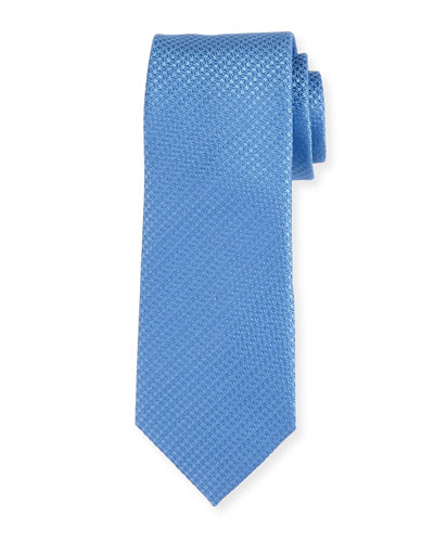Cable-Weave Silk Tie, Blue
