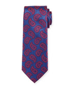 Paisley Pines Silk Tie, Red/Blue