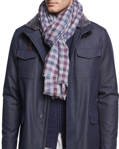 Devon Large-Plaid Cashmere-Silk Scarf