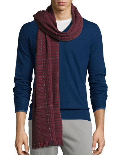 Berks Prince of Wales Check Cashmere Scarf