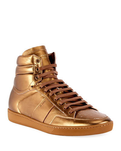 SL/10H Signature Court Classic Metallic Leather High-Top Sneaker, Gold