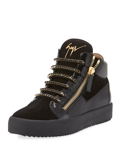 Men's Crystal-Lace Velvet & Leather Mid-Top Sneakers