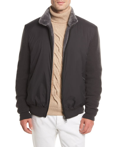 Castorino Fur-Lined Bomber Jacket