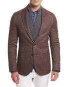 Andorra Chevron Three-Button Blazer