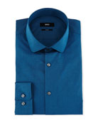 Slim-Fit End-on-End Dress Shirt, Teal