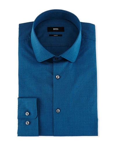 Slim-Fit End-on-End Dress Shirt, Teal
