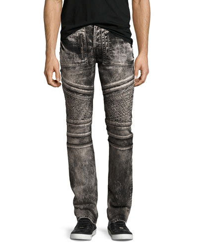 Demon Bleached Moto Slim-Straight Jeans, Black