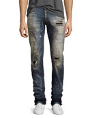 Demon Stitched & Ripped Slim-Straight Jeans, Bathing Suit (Indigo)