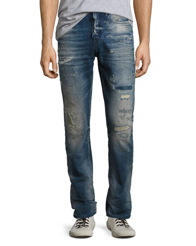 Demon Distressed Denim Slim-Straight Jeans, Lawn (Medium Blue)