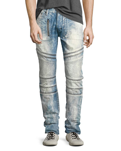 Demon Bleached Slim-Straight Moto Jeans, Lake (Medium Blue)