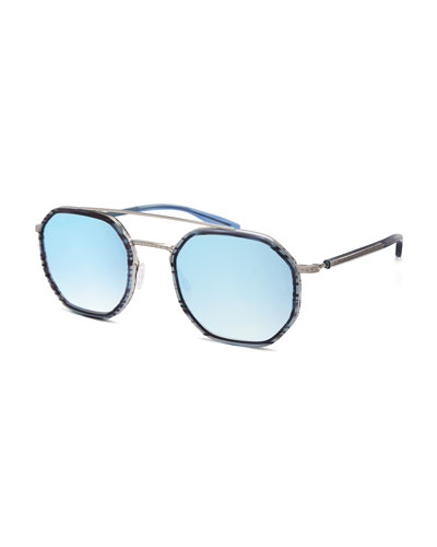 Themis Mirrored Octagonal Sunglasses, Midnight/Silver/Arctic
