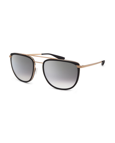 Lafayette Metal & Acetate Navigator Sunglasses, Black/Gold/Smolder Silver