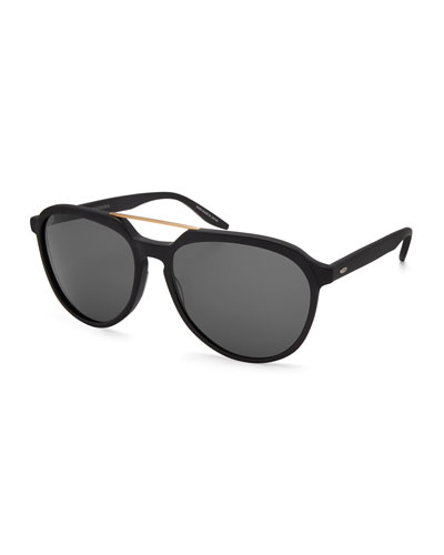 Bulger Acetate Teardrop Aviator Sunglasses, Black/Brushed Gold/Noir