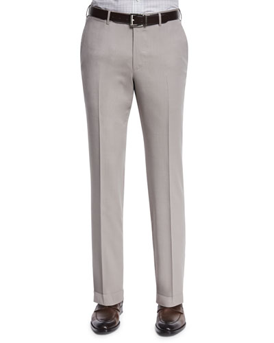 High-Performance Wool Twill Trousers, Tan