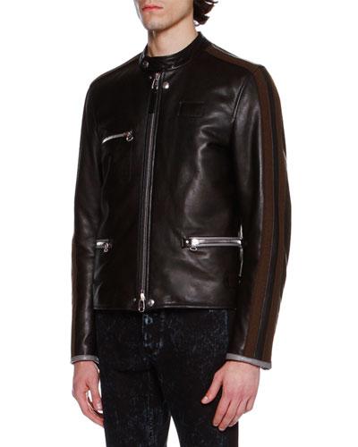 Striped-Sleeve Leather Café Racer Jacket, Black