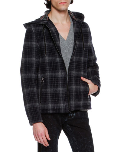 Check Plaid Virgin Wool Zip-Front Hoodie Jacket, Navy