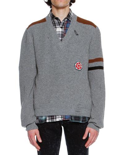 Distressed Alpaca-Wool Sweater with Patch, Gray