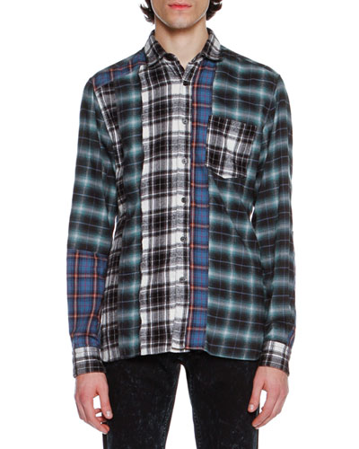 Patchwork Plaid Flannel Shirt, Blue/Black