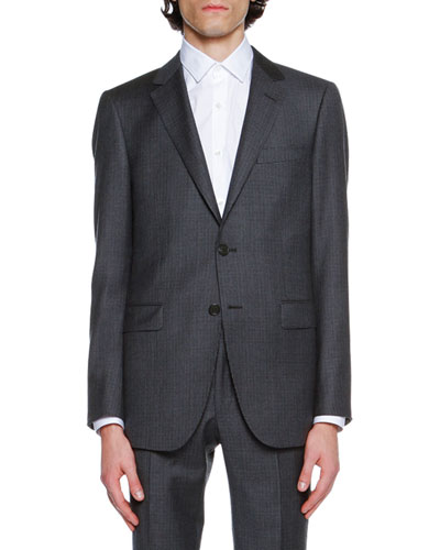 Mini-Check Super 120s Virgin Wool Suit Jacket, Navy
