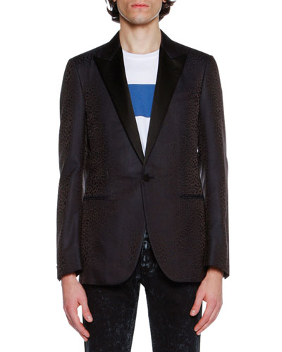 Evolution Eve Peak-Lapel Evening Jacket, Navy Leopard