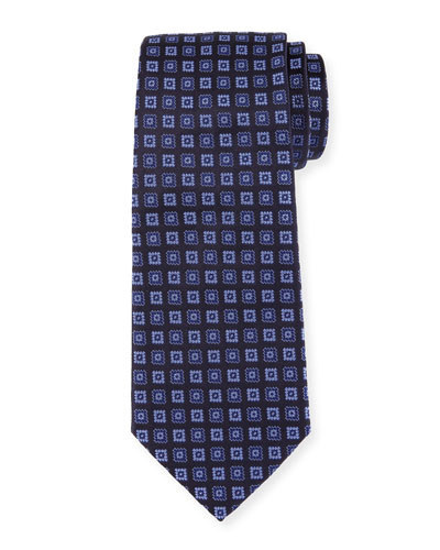 Neat Box Silk Tie, Blue/Navy
