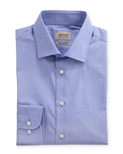Striped Modern-Fit Dress Shirt, Purple