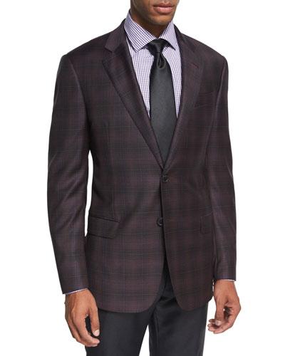 Plaid Wool Sport Coat, Raspberry/Black