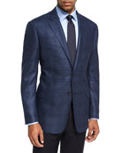 Glen Plaid Wool Sport Coat, Blue