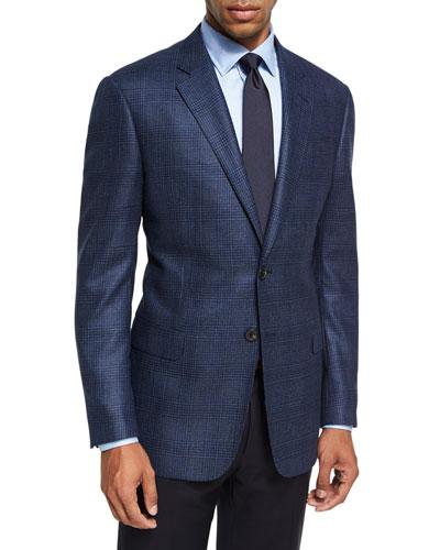 Glen Plaid Wool Sport Coat, Blue