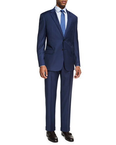 Graph Check Wool Two-Piece Suit, Bright Blue