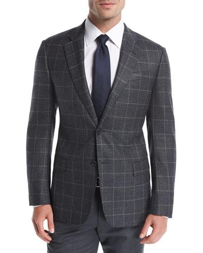 Windowpane Basketweave Wool-Cashmere Sport Coat
