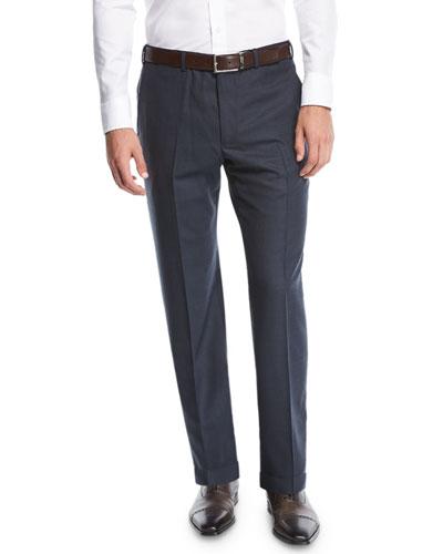 Wool Straight-Leg Trousers, Navy