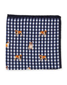 Bulldog-Print Gingham Pocket Square
