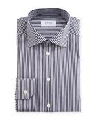 Slim-Fit Striped Dress Shirt, Navy/White