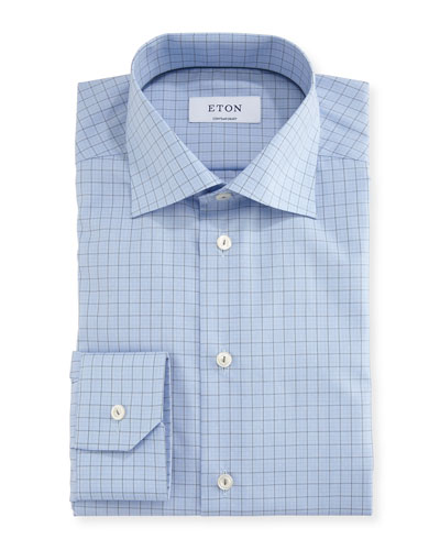 Contemporary-Fit Grid-Check Dress Shirt, Gray/Blue