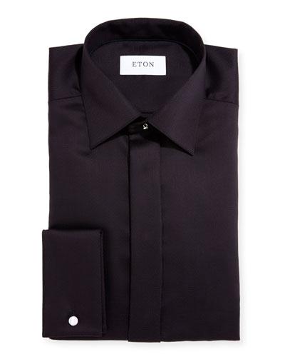 Slim-Fit Diamond-Weave Formal Dress Shirt
