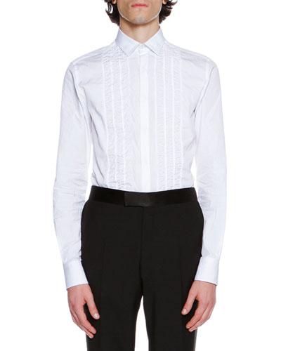 Ruched Slim-Fit Cotton Tuxedo Shirt, White