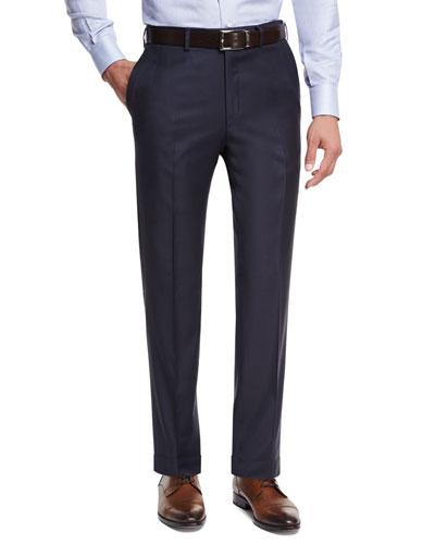 Sharkskin Flat-Front Trousers