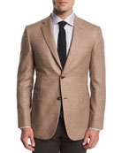 Melange Silk-Cashmere Two-Button Blazer