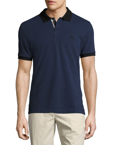 Haywood Check-Placket Cotton Pique Polo Shirt, Navy