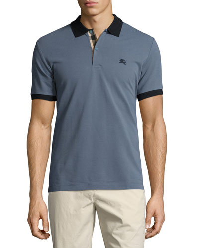 Haywood Check-Placket Cotton Pique Polo Shirt, Slate