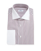 Striped Dress Shirt with Contrast Collar & Cuffs, Red
