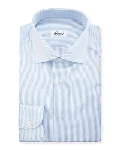 Multi-Stripe Cotton Dress Shirt, Blue