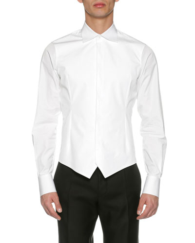 Formal Poplin Tuxedo Shirt, White