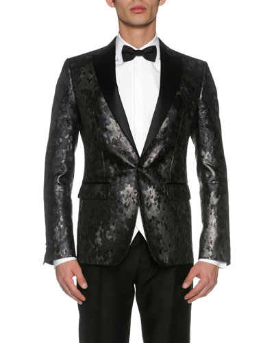London Jacquard Evening Jacket, Black/Gray