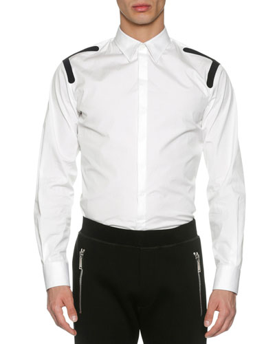Stretch Cotton Shirt with Taping, White