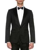 London Jacquard Tuxedo Jacket, Black